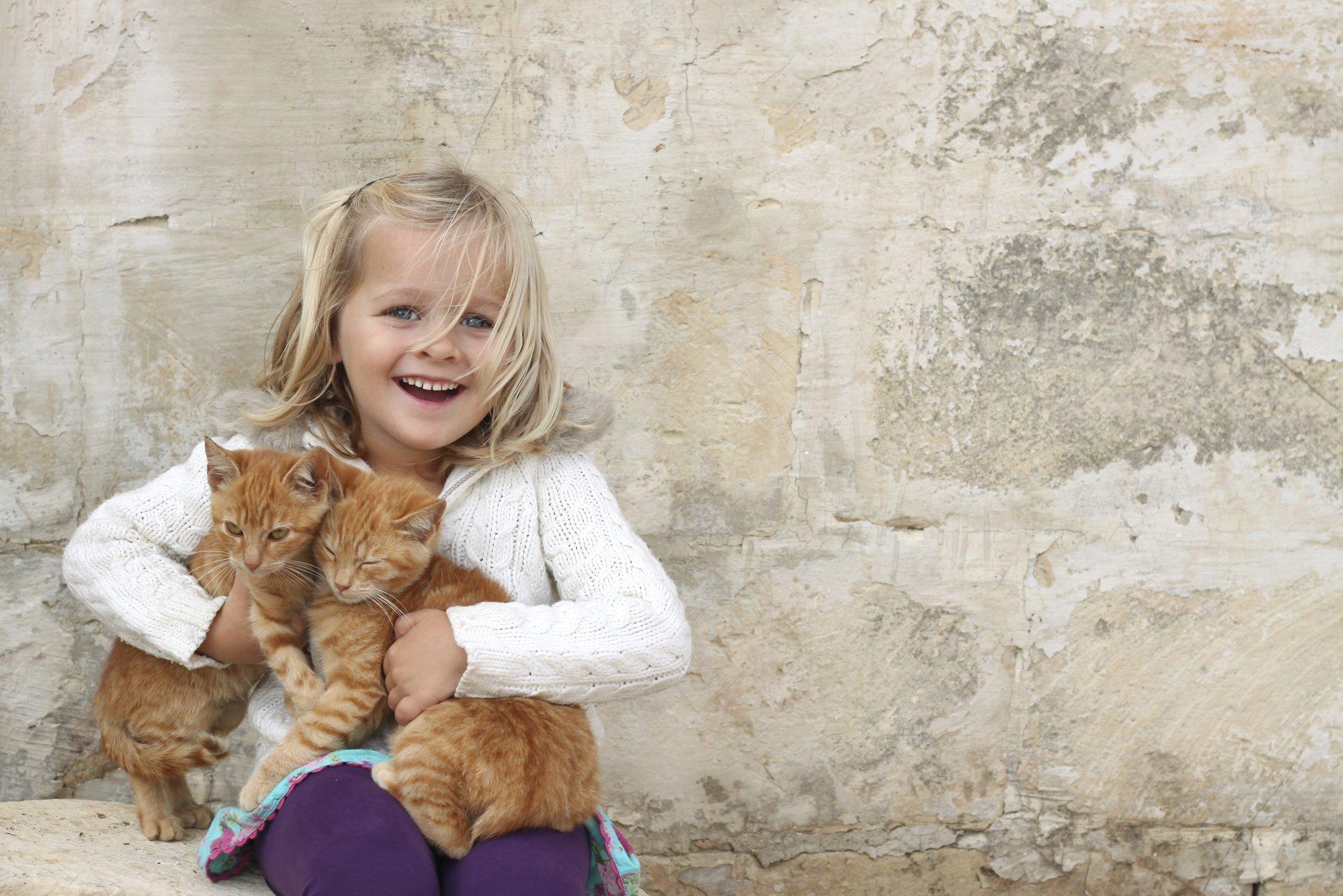 little girl with kittens